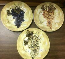 """3- 1855 Email de Limoges L. Godinger, Large 10 1/8"""" Dinner Plates with Grapes"""