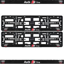 NUOVO Set Di AUDI S LINE Number Plate circonda CORNICI SUPPORTO Q2, Q3, Q5, Q7