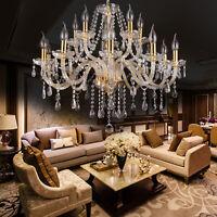 New Elegant Crystal Glass Chandelier Ceiling Lighting Fixture 6-15 Light Pendant