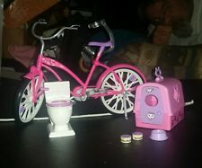 BARBIE DOLL TOILET with SOUNDS BICYCLE CAT CARRIER all not complete for parts