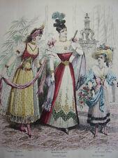 """23/ GRAVURE DE MODE """" Moniteur de la Mode Paris 1891 """".   Grand format 36x26"""