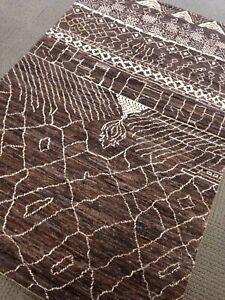 Beni Ourain Morrocan Hand Made Area Rug Artisan 3' X 5 New Brown Peshawar Fine A