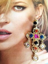 ~LOVE them! STATEMENT Massive Designer Gold Tone Cabochon Pendant CROSS EARRINGS