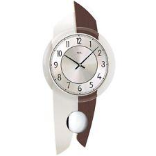 AMS 7409 orologio da parete quarzo  pendolo legno colore legno do noce  allumini