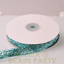 """10 Yards 5/8"""" 16mm Sparkle Glitter Velvet Ribbon Sewing Wedding Peacock Green"""