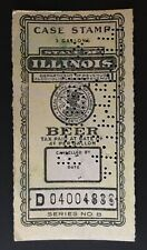 Illinois State Revenue #B74 Beer Tax used Perfin canceled Peter Fox 1-16-1945 IL