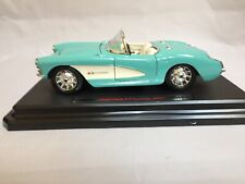 VTG Burago 1957 chevrolet corvette 1:24 Die Cast W/ Base Good Condition No Box