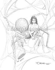 Sexy ARACHNE, SPIDER WOMAN original fantasy pin-up art by JOE ORSAK