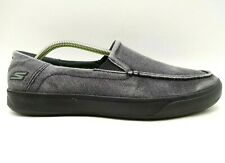 Skechers Goga Max Gray Distressed Canvas Casual Comfort Loafers Shoes Men's 10