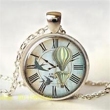 Pájaro Vintage Reloj Foto Plata tibetana Vidrio Colgante Para Collar collar#