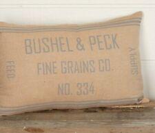 GRACE GRAIN SACK Throw Pillow Tan/Blue Stripe Country Farmhouse 14x22 VHC Brands