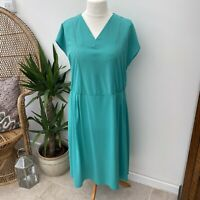 Vintage 70's 80's Aqua Green Dress Midi Length Sz 18 20