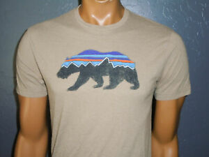 PATAGONIA T-Shirt Organic Cotton blend Grizzly Bear BROWN Slim Fit MD  SMALL