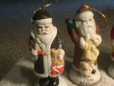 4 Hanging Christmas Ornaments --Santa's from Holland, England, Belgium, & Brazil