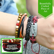 Colored Beads Love Charm Braided Leather Ropes Fashionable Bracelet Wristband