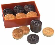"""25 Pieces Wooden Checkers Dark Brown Natural Wood 1.25"""" New Wood Checkers Pieces"""