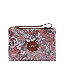 MIMCO Enamour Medium Metal Mesh Pouch Clutch Outlander Bordeoux Print New Tags