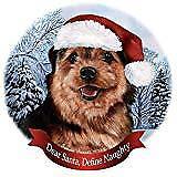 Holiday Pet Gifts Norfolk Terrier Black/Tan Dog Santa Hat Porcelain Ornament