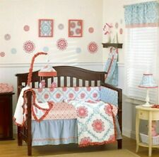 4-Pc CoCaLo Dahlia Crib Bedding Set Girl's Nursery White Pink Blue Shabby Chic