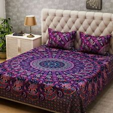 Indian Cotton Paisley Mandala Queen Size Bed Sheet With 2 Pillow Bedding Decor