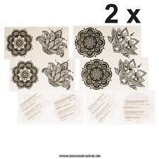 2 x 4-teiliges Mandala Tattoo Sticker Set - 8 Mandala temporäre Fake Tattoos