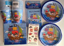 PIRATE SHIP Birthday Party Supply Kit w/Invitations & Temperary Tattoos