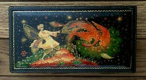 VINTAGE SIGNED RUSSIAN BLACK LACQUER BOX FAIRY TALE Dragon Peacock Gilded