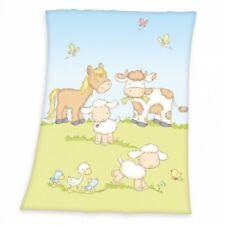 Flauschdecke Babydecke 75x100 Bauernhof Tiere Kuh Pferd Schaf Ente Schaf