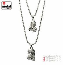 "Solid Silver Plated Jesus Pray Hand 22"" 27"" Combo Pendant Necklace MHC 201 S"