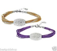 QVC Adjustable Set of Two Pave Crystal Bracelet Gold & Purple Stainless Steel