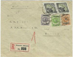 Lithuania and Occupation Memel 1923 mixed issue registered cover to Bremen