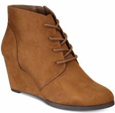 American Rag Baylie 10.5 M Women Ankle Boot Lace-Up Chesnut Wedge Bootie Sz 10.5