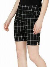 INC Womens Bermuda Short Black White Size 10 Windowpane Mid-Rise Pull-On $49 386