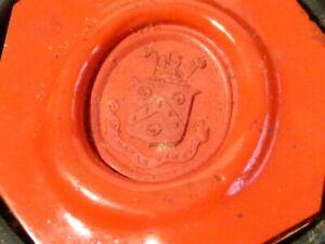 19thC Red Wax Seal SAMPLE Livery Crest VERITAS VINCIT Lignum Vitae Box a/f #SS24