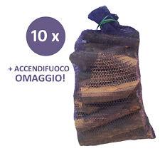 10 Sacchi da 10 kg Legna da Ardere 100% Carpino Tondelli 25 cm per Camino Stufa
