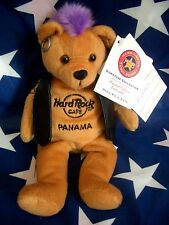 HRC Hard Rock Cafe Panama Punk Bear Mohawk 2009 Purple Hair Herrington