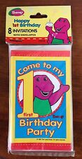 Vintage BARNEY Dinosaur 1st Birthday Party Invitations 8 Cards Party Supplies