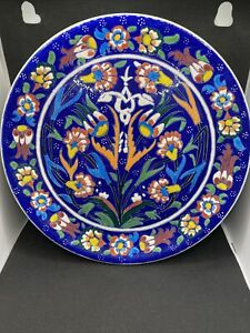 Art studio pottery hand made Oren signed by Gini decorative colorful Plate Turk