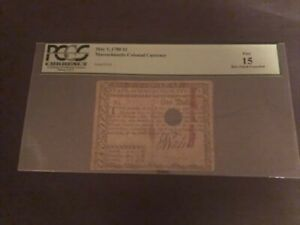 Massachusetts Colonial Currency May 5, 1780 $1 Fine 15 Hole Punch Cancelled