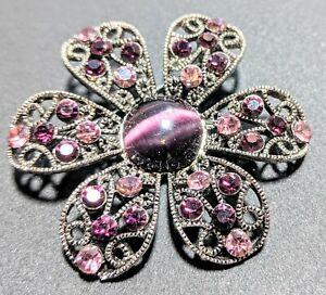Purple Rhinestones And Glass Center Filigree Silver Tone Pin Brooch 70s