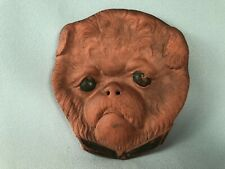 *Rare* Antique Brussels Griffon Dog Figural Redware Calling Card Tray