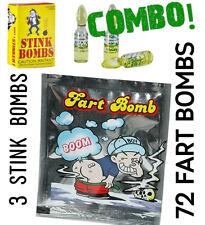 (72) Fart Bomb Bags + (3) Stink Bomb Glass Vials - funny gag prank joke (COMBO)