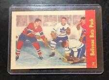 1955 56 PARKHURST HOCKEY 74 JEAN BELIVEAU HARRY LUMLEY  BATS PUCK CANADIENS