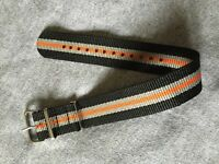 18mm .Nato. Nylon Watch Strap Wristwatch Band.Brand new. 2Black_2Grey_Orange