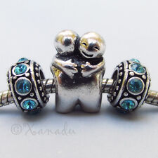 Hugging Friends European Charm Bead With Birthstone Spacers For Charm Bracelets