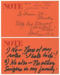 Leontyne Price - American Soprano - Autographed Note (ANS) on 2 Cards
