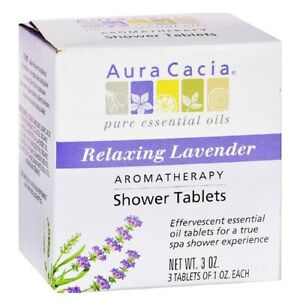 Aura Cacia Shower Tablets ~ Relaxing Lavender Aromatherapy ~ 3 Tablets per box