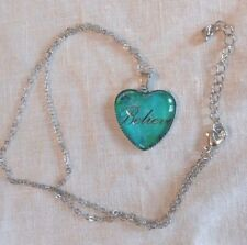 "Believe Necklace Jade Tone Heart Silvertone 19-22"" Chain Adjustable 1"" Pendant"