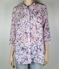Cotton Blend 3/4 Sleeve Floral Button Down Shirts for Women