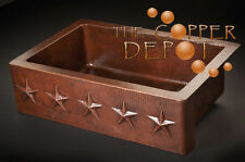 "33"" Copper Farmhouse Apron Kitchen Sink Star Design"